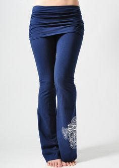 Jala Clothing Ganesha Gathered Waist Yoga Pants Ink $62 @ www.downdogboutique.com #YogaClothes #YogaPants #Yoga