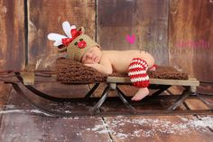 Ready to Ship......Christmas Hat & Leg Warmers ..... Rudolph the Red Nosed Reindeer Newborn Photo Prop. $46.99, via Etsy.