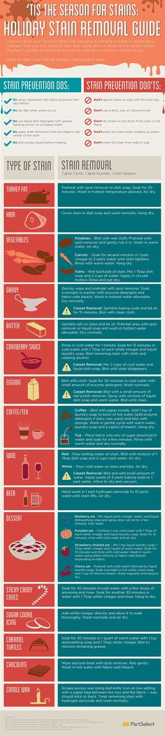 Holiday Stain Removal Guide  [by PartSelect -- via #tipsographic]. More at tipsographic.com