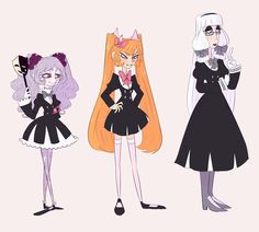 type-silber's designs + different body and head shapes I like it so much that canon just died to me don't repost plz The Holy Trinity but they all look different Character Inspiration, Character Design, Beauty In Art, Skullgirls, Yandere Simulator, Head Shapes, Hero Academia Characters, New Art, Images