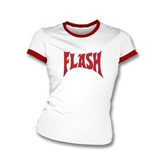 Flash (As Worn By Freddie Mercury) Womens Slimfit T-shirt In White/Red... (25 CAD) ❤ liked on Polyvore featuring tops, t-shirts, red t shirt, slim fit t shirts, white tee, slim fit tops and red white top
