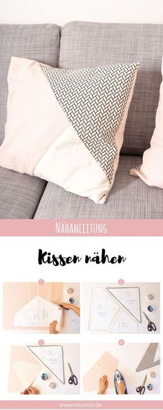 Einfache Kissen nähen mit geometrischer Teilung – Miss Rosi Simple tutorial on how to sew fashionable pillows for your sofa. Illustrated instructions with free sewing pattern, great for beginners. The pillows are sewn with the hotel clasp. Sewing Hacks, Sewing Tutorials, Sewing Tips, Decor Scandinavian, Leftover Fabric, Love Sewing, Sewing Projects For Beginners, Learn To Sew, Sewing Patterns Free