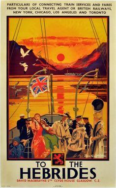 To the Hebrides, 1930s - original vintage poster by Tom Gilfilian listed on AntikBar.co.uk