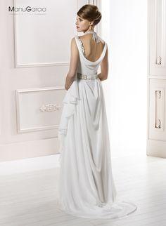 Vestido de novia estilo griego de gasa #byManuGarcía