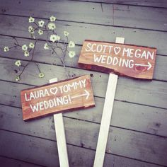 Rustic wedding directional sign with names and arrow with stake. on Etsy, $24.00
