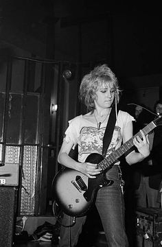 Guitarist Viv Albertine of punk band The Slits performs on stage at the Oaks pub in Chorlton Manchester on April 28 1977