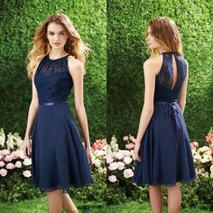 6c5eb5800790 2015 Short Navy Blue Cheap Bridesmaid Dress Halter High Neck Cutout Back  Lace Knee Length Beach