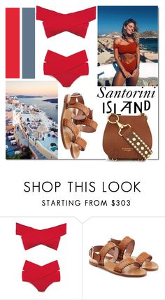 """Santorini, Greece..."" by nfabjoy ❤ liked on Polyvore featuring Oakley, Oye Swimwear, RED Valentino, Burberry, travel, bikini and Islands"