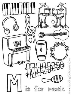 M is for music coloring page for preschoolers. A fun, free printable for your preschooler. Preschool Music Activities, Preschool Learning, Tempo Music, Music Letters, Music Lesson Plans, Music Worksheets, Elementary Music, Music Classroom, Teaching Music