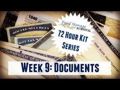 Food Storage and Survival – 72 Hour Emergency Kit Series Week 9: Documents