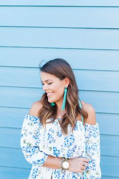 Floral Off The Shoulder Dress for summer via Glitter & Gingham / Tassel Earrings / Steve Madden Wedges Off The Shoulder, Shoulder Dress, Steve Madden Wedges, Blue Glitter, Tassel Earrings, Gingham, Lifestyle Blog, Color Pop, Summertime