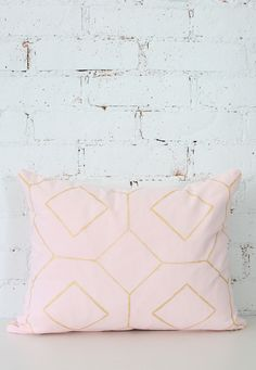 blush pink pillow cover with gold geometric design by DarciTowns on Etsy https://www.etsy.com/listing/223260319/blush-pink-pillow-cover-with-gold