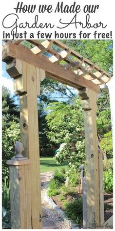 When we decided to create our sunken brick patio one thing that I really wanted to add was a wooden arbor entrance from the garden. Our wooden arbor does a wonderful job of making this outdoor space feel more like an outdoor room. This wooden arbor was fairly simple to make and we made it using scrap wood from the deck that we took down and wood left over from creating our wood retaining wall. #arbor #gardenarbor #diy http://lehmanlane.net