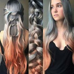 Metallic silver hair color melted down to a rich earthy peach hair hair Ombre Hair, Balayage Hair, Auburn Balayage, Peach Hair, Coloured Hair, Mermaid Hair, Grunge Hair, Silver Hair, Copper Hair