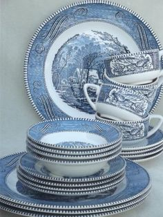 Grandmothers Dishes vintage Currier & Ives blue and white china dishes, dinnerware set for 4 Vacuum