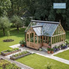 Another stunning garden location for one of our RHS Portico Greenhouses. This plant packed Glasshouse is the central hub in a beautiful… Diy Greenhouse Plans, Outdoor Greenhouse, Greenhouse Gardening, Outdoor Gardens, Modern Gardens, Small Gardens, Small Greenhouse, Greenhouse Wedding, Vegetable Garden Design