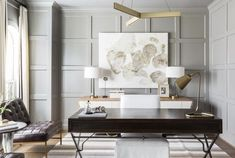 Love love love this home office space by - this type of wall paneling is my favorite these days and recently went on our fireplace and is soon going up in the master bathroom as well. Can't wait to share those results. Home Office Space, Home Office Design, Home Office Decor, House Design, Home Decor, Office Ideas, Office Inspo, Desk Office, Small Office
