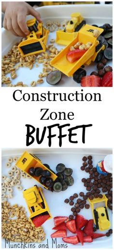 Construction Zone Buffet- a fun breakfast option for kids who love all things tractor! Sensory Activities, Toddler Activities, Learning Activities, Sensory Play, Sensory Boxes, Toddler Meals, Kids Meals, Toddler Food, Party Fiesta