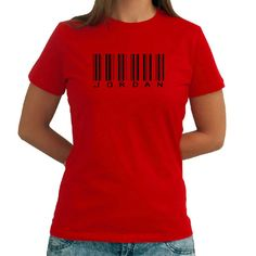 Jordan Barcode Women T-Shirt ($17) ❤ liked on Polyvore featuring tops, t-shirts, black and women's clothing