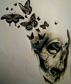 Cool Skull Tattoos For Women – My hair and beauty Skull Butterfly Tattoo, Butterfly Tattoo Designs, Skull Tattoo Design, Skull Design, Skull Tattoos, Body Art Tattoos, Sleeve Tattoos, Flower Skull, Tattoo Flowers
