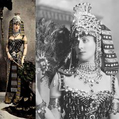 "Lady Paget, in House of Worth ""Cleopatra"" costume for the opulent ""fancy dress"" ball, hosted in 1897 by Duchess of Devonshire-- quality gemstones, incl. diamonds , rubies-- plus semi-precious, such as turquoise and carnelian are set into gold & silver on headdress, and collar/necklace, also decorate bodice--18 K gold applique & metallic threads embroider the silk crepe trained gown (reportedly cost more than"