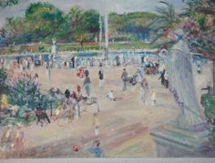 """""""Luxembourg Gardens"""" by Lucien Adriou.  Oil on canvas. CIRCA: 1928 DIMENSIONS: 25.5"""" h x 31"""" w"""