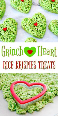Grinch Heart Rice Krispies Treats Recipe Homemade Rice Krispie Treats are a favorite in our home, but during Christmas we like to kick them up a notch and make these super cute Grinch Heart Rice Krispies Treats…easiest recipe ever and… Continue Reading → Grinch Christmas Party, Christmas Snacks, Christmas Cooking, Christmas Parties, Christmas Recipes, Holiday Recipes, Homemade Christmas Treats, Rice Crispy Christmas Treats, Christmas Traditions Kids