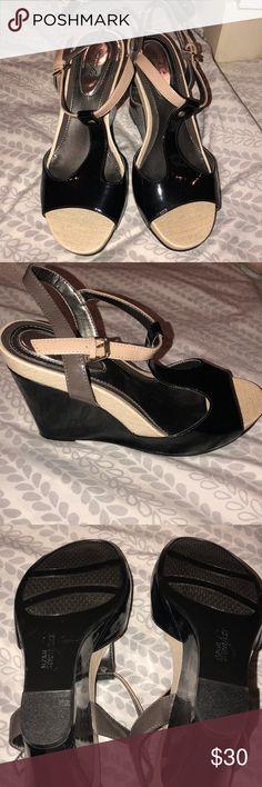 Alfani step n flex wedge Black, cream, & grey color block wedge. Never worn! Buckle closure. Patent PU upper. Padded heel for extra comfort Alfani Shoes Wedges