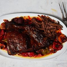 Braised Brisket with Hot Sauce and Mixed Chiles ● How can you look at this recipe and not crave braised brisket tacos?