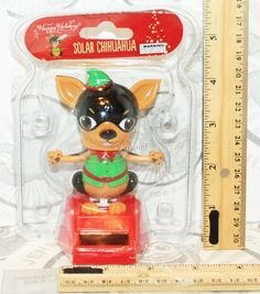 "CHIHUAHUA DOG SOLAR POWER TOY 4"" FIGURE ELF OUTFIT BOBBLE DANCING DANCER NEW #MomentumBrands"