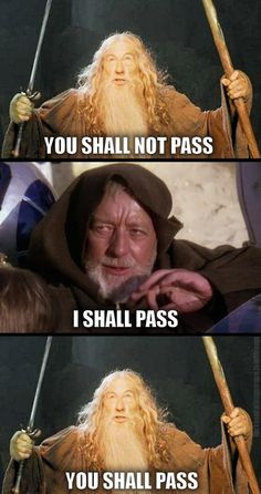 Obi-Wan vs Gandalf (Set Phasers To LOL: Sci Fi and Fantasy LOLs) Pass! haha this is great (if you get it lol) lord of the rings,star wars,monty python and the holy grail,the fifth element 😀 Star Wars Meme, Star Wars Witze, Obi Wan, Haha, You Shall Not Pass, Funny Memes, Hilarious, It's Funny, Movie Memes