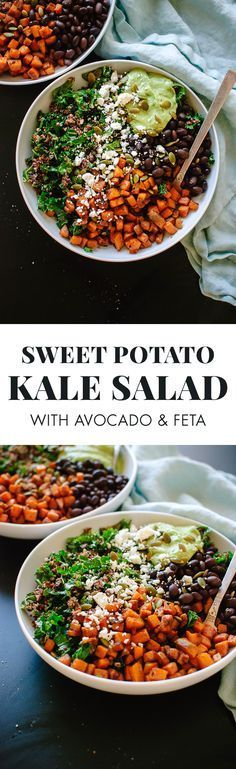 *sans feta for vegan option* Healthy and hearty Southwestern kale power salad recipe - cookieandkate.com