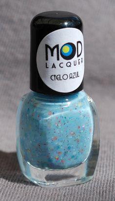 Cielo Azul Glitter Nail Polish Mini  4ml by ModLacquer on Etsy, $4.00