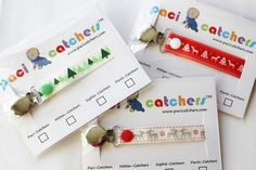 Christmas Paci-Catchers keep baby's pacifier off the ground while adding a touch of holiday spirit! Paci-Catchers are compatible with any pacifier. Great stocking stuffer idea for baby.
