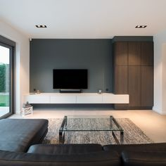 Our Mini multiple trimless lighting at a private residence in West. - Our Mini multiple trimless lighting at a private residence in Westerlo, Belgium. Living Room Tv Unit, Living Room Sets, Living Room Modern, Home Living Room, Living Room Decor, Modern Tv Wall, Van Living, Small Living, Home Room Design