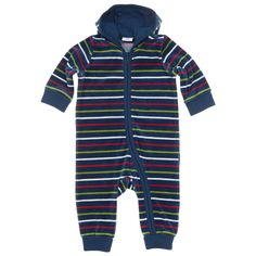 Polarn O. Pyret Velour Striped Sleepsuit. Colourful striped baby clothes.