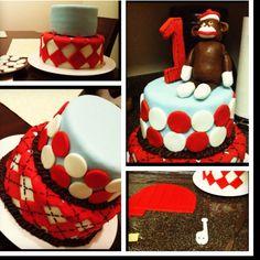 1st Birthday Sock Monkey Cake
