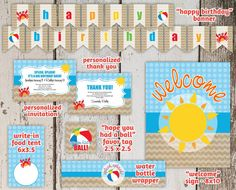 $30 Beach Birthday Invitation Party Package / Pack / Set / Supplies - Easy Printables! - Instant Digital File Downloads