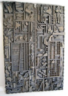 Louise Nevelson Assemblage --Monumental Pair of Wall Sculptures Louise Nevelson Cardboard Sculpture, Cardboard Art, Art Sculpture, Wall Sculptures, Cardboard Relief, Louise Nevelson, Motif Art Deco, Found Object Art, Assemblage Art