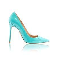 'PARIS'  4' Aqua Patent Leather Pointy Toe Heels