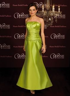 PYPER style 5157  Simple strapless style gown with mermaid skirt, wide gathered waistline. Shown in Peridot. Multiple colors available.