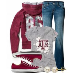 Casual Outfit.....Not a Texas A&M fan. The outfit is CUTE...would have to change it to a BAMA shirt  :)