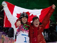 Freestyle skier Alex Bilodeau made history at the Sochi Olympics by repeating as Olympic moguls champion. Here, Bilodeau celebrates with his brother, Frédéric, after the moguls finals in Krasnaya Polyana, Russia, on Feb. 10, four years after his gold medal win in Vancouver in 2010.