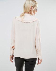 Vero Moda Petite   Vero Moda Petite Ruffle Detail Shirt at ASOS
