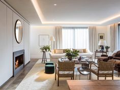 View of stylish marble fireplace and chevron oak flooring in main reception room. Apartments For Sale, Luxury Apartments, Battersea Power Station, Penthouse For Sale, Holland Park, Marble Fireplaces, Reception Rooms, Pent House, Living Room Sofa