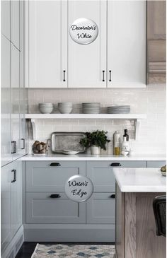 Kitchen Decor IdeasTwo-toned painted cabinets in the kitchen are a hot trend that is here to stay! Here are some timeless paint color combos to consider for your kitchen to break up an all white kitchen. White and medium blue kitchen cabinets. Kitchen Cabinets Color Combination, Blue Kitchen Cabinets, Kitchen Cabinet Colors, Kitchen Redo, New Kitchen, Kitchen Layout, Two Toned Cabinets, Rustic Kitchen, White Cabinets