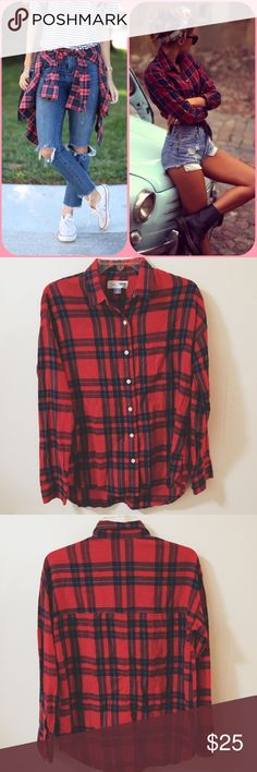 Oversized Flannel Button Up Shirt Classic oversized red and blue grunge style Flannel Button Up is a stylish layering piece for all seasons! This is definitely a closet staple. If you need a fresh Flannel in excellent quality this is perfect! The boyfriend fit make this the perfect oversized fit! 👍 stock photos are for style inspiration Old Navy Tops Button Down Shirts