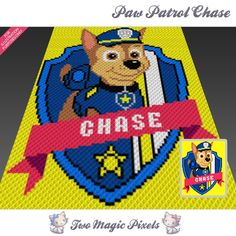 Paw Patrol Chase crochet blanket pattern; c2c, cross stitch; graph; pdf download; no written counts or row-by-row instructions by TwoMagicPixels, $3.99 USD