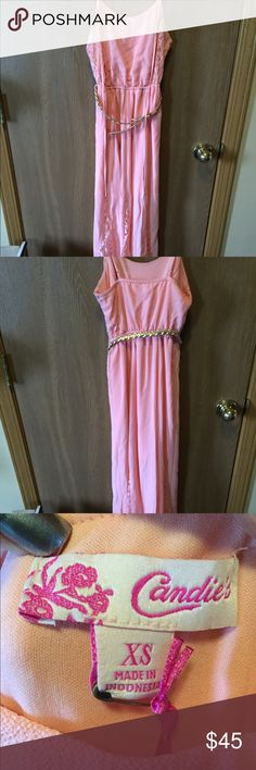 NWT Juniors Maxi Summer Dress NWT Super cute and super flirty long maxi dress. Short skirt under with long flowing skirt over with lace. Cute gold belt to accent. ❤️☺️ wear with a cute pair of sandals for every day or kick it up with heels for a night out. Comes from a smoke free home. Happy Poshing ❤️☺️ Candie's Dresses Maxi