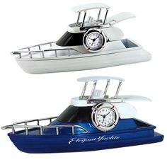All aboard! Made out of die cast metal housing, this yacht shaped clock will keep any marketing campaign afloat. Analog quartz movement ensures accurate function. The perfect gift for innovators who bravely navigate the open waters of your profession. An excellent promotional tool to have at boating shows and conventions. Available in your choice of silver or blue. May be customized with company name and logo or purchased without imprint.